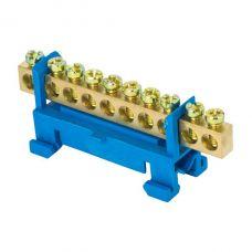 Шина 0 N (6х9мм) 10 отверстий латунь синий изолятор тип Стойка на DIN рейку EKF PROxima, sn0 63 10 sb