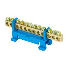 Шина 0 N (6х9мм) 12 отверстий латунь синий изолятор тип Стойка на DIN рейку EKF PROxima, sn0 63 12 sb
