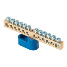 Шина 0 N (6х9мм) 12 отверстий латунь синий угловой изолятор EKF PROxima, sn0 63 12 1