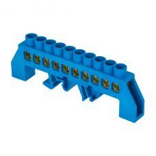 Шина 0 N (8х12мм) 10 отверстий латунь синий нейлоновый корпус комбинированный EKF PROxima, sn0 125 10 dn