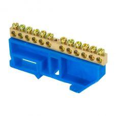 Шина 0 N (6х9мм) 12 отверстий латунь синий изолятор на DIN рейку EKF PROxima, sn0 63 12 d