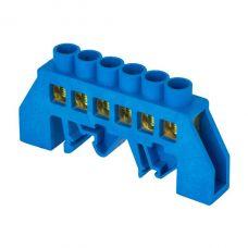 Шина 0 N (6х9мм) 6 отверстий латунь синий нейлоновый корпус комбинированный EKF PROxima, sn0 63 06 dn