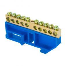 Шина 0 N (6х9мм) 10 отверстий латунь синий изолятор на DIN рейку EKF PROxima, sn0 63 10 d