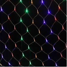 Гирлянда СЕТЬ свечение мульти RGB, размер 2.0х2.0 м, 240LED, прозрачный провод, контроллер