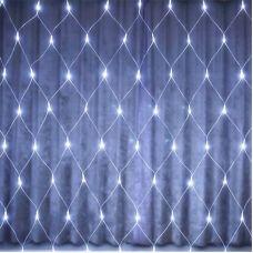 Гирлянда СЕТЬ белого свечения В160Led W, размер 1.5х1.5 м, 7 режимов + статика, прозрачный провод (3162)