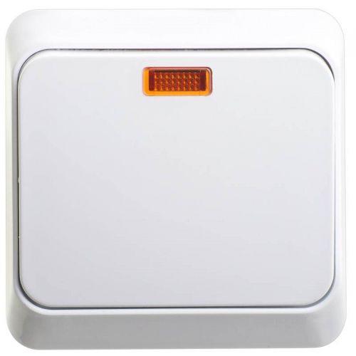 Выключатель 1 клавишный, ОУ, с индикацией, 10 АХ, белый, ЭТЮД, арт. BA10 005B, Schneider Electric