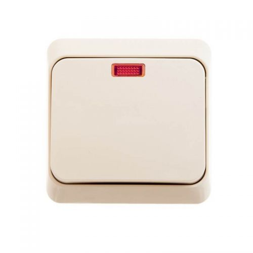 Выключатель 1 клавишный, ОУ, с индикацией, 10 АХ, кремовый, ЭТЮД, арт. BA10 005K, Schneider Electric