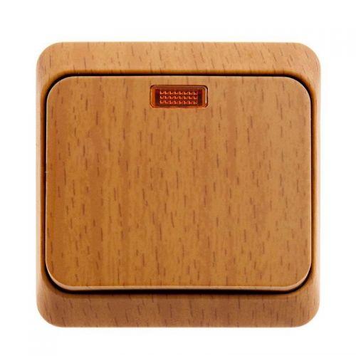Выключатель 1 клавишный, ОУ, с индикацией, 10 АХ, бук, ЭТЮД, арт. BA10 005T, Schneider Electric