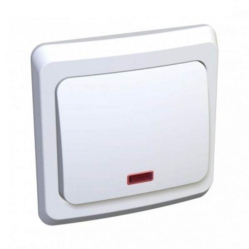 Выключатель 1 клавишный, СУ, с индикацией, 10 АХ, белый, ЭТЮД, арт. BC10 005B, Schneider Electric