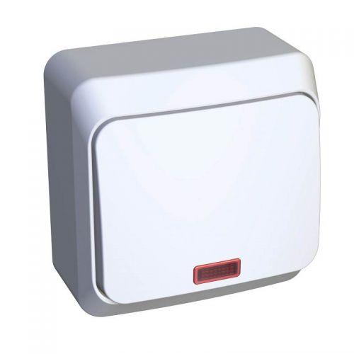 Переключатель 1 клавишный, ОУ, с индикацией, 10 АХ, белый, ЭТЮД, арт. BA10 007B, Schneider Electric