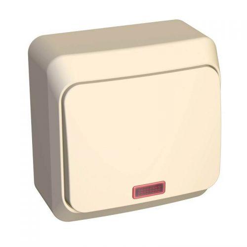 Переключатель 1 клавишный, ОУ, с индикацией, 10 АХ, кремовый, ЭТЮД, арт. BA10 007K, Schneider Electric