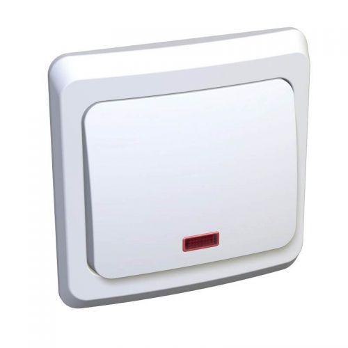 Переключатель 1 клавишный, СУ, с индикацией, 10 АХ, белый, ЭТЮД, арт. ВC10 007B, Schneider Electric