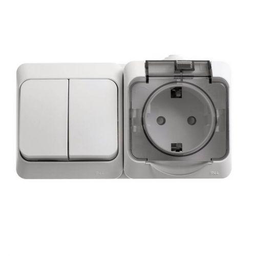 Блок: розетка с з/к, шторки, крышка + выкл. 2 кл., ОУ, IP44, белый, ЭТЮД, арт. BPA16 242B, Schneider Electric