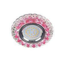 Светильник встраиваемый Ecola LD7009, FP16CCEFB, GU5.3, искристый с подсветкой Кристалл, Прозрачный и Розовый/Хром