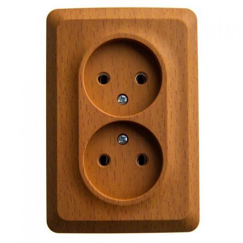 Розетка угловая двойная без з/к, ОУ, 16А, бук, ЭТЮД, арт. PA16 105T, Schneider Electric