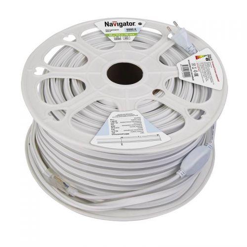 Лента светодиодная герметичная 9 Вт/м, 220 В, 92 LED/м, SMD 2835, IP67, цвет: Холодный белый, 71929, Navigator