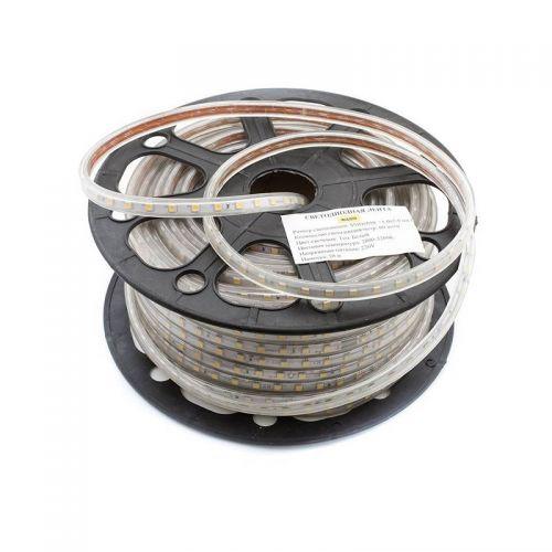 Лента светодиодная герметичная 14,4 Вт/м, 220 В, 60 LED/м, SMD 5050, IP67, цвет: Белый теплый, 00941, уп/50 м, SWG