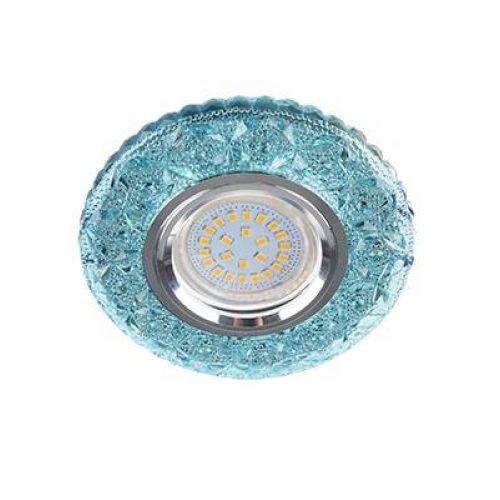 Светильник встраиваемый Ecola LD7040, FB16CBEFB, GU5.3, искристый с подсветкой Бабочки, Голубой/Хром