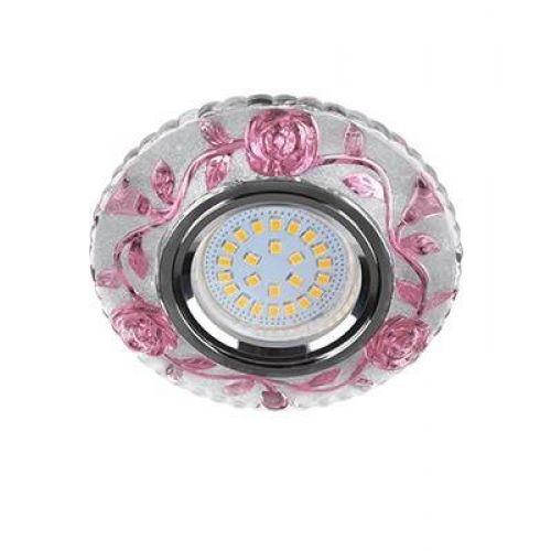 Светильник встраиваемый Ecola LD7071, FP16CREFB, GU5.3, искристый с подсветкой Розы, Прозрачный и Розовый/Хром