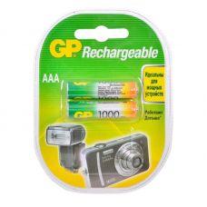 Аккумулятор GP AAA/HR03, 1000 mAh, уп/2 шт, 100AAAHC/R03