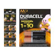 Батарейка Duracell Базис AA/LR6, MN1500, 2BL 2*6, уп/2 шт