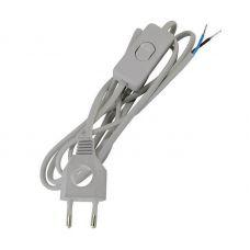 Шнур с выключателем и плоской вилкой с вырезом ШУ03В, 2 м, серебр. металлик, SQ1305 0025, TDM Electric