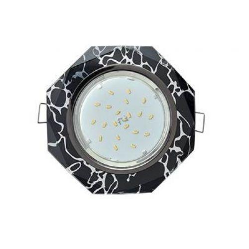 РАСПРОДАЖА Светильник встраиваемый Ecola GX53 H4 Glass, FB538AECH, патрон GX53, Стекло 8 угол., Хром/Хром на черном