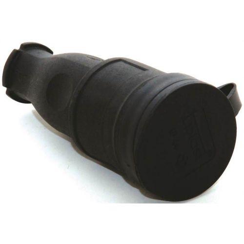 Розетка переносная 16А, 2P+E, каучук, IP44, черная, арт. 31.01.304.0300, T.plast