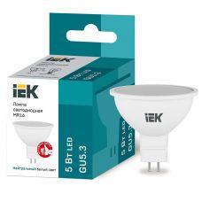 Лампа светодиодная IEK MR16 софит 5Вт 4000К GU5.3 230В 450Лм LLE MR16 5 230 40 GU5