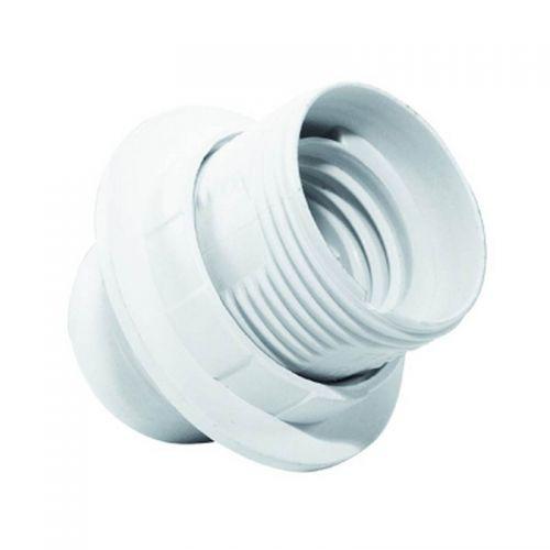Патрон с прижимным кольцом Е27, пластиковый, белый, Н10
