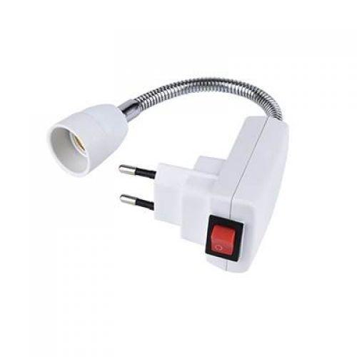 Переходник вилка патрон E14, гибкий, 300 мм, c выключателем, Ecola base, белый, арт. APF4SWEAY