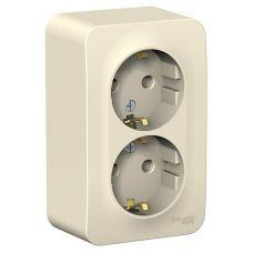 Розетка двухместная с з/к, ОУ, 16А, молочный, BLANCA, арт. BLNRA010212, Schneider Electric