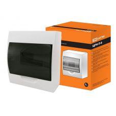 Корпус навесной ЩРН П 8, IP41, пластик, белый, прозрачная дверь, SQ0901 0003, TDM Electric