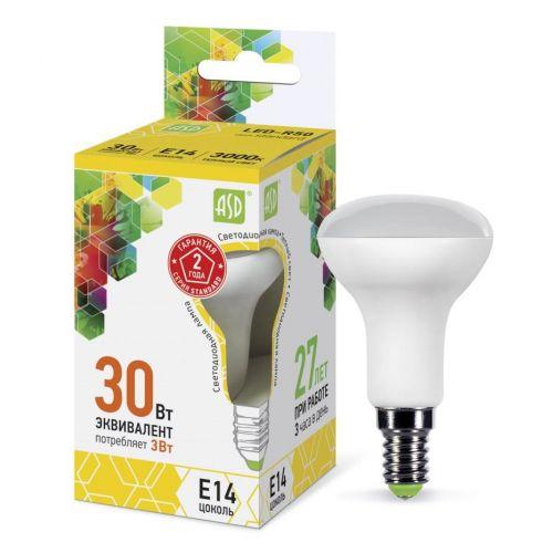 Лампа светодиодная LED R50 standard, 3 Вт, 3000 К, E14, 270 лм, матовая, 230 В, ASD