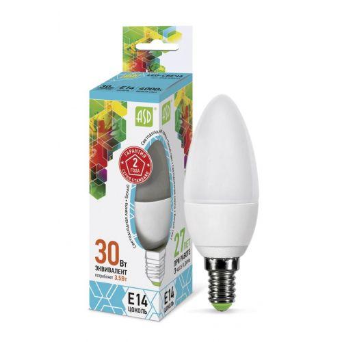 Лампа LED СВЕЧА standard, 3.5 Вт, 4000 К, Е14, 320 лм, матовая, 230 В, ASD