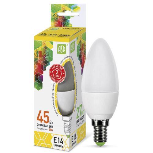 Лампа светодиодная LED СВЕЧА standard 5Вт 3000К E14 450Лм матовая 4690612002200 ASD