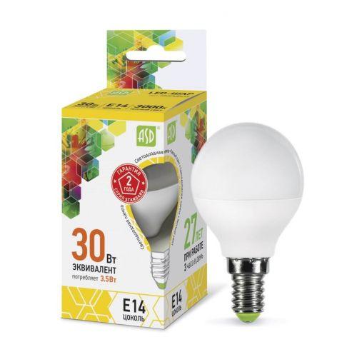 Лампа светодиодная LED ШАР standard 3.5Вт 3000К Е14 320Лм матовая 4690612000367 ASD