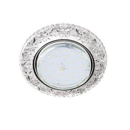 Светильник встраиваемый Ecola H4 LD7040, FT53CBEFB, GX53, искристый с подсветкой Бабочки, Прозрачный/Хром