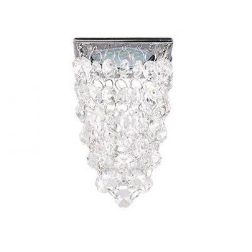 Светильник встраиваемый Ecola MR16 CR1014, FW16RVECB, патрон GU5.3, квадрат стекло Хрустальная гроздь, Прозрачный/Хром