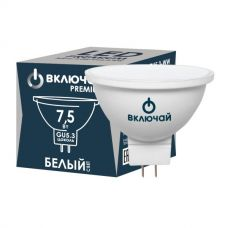 Лампа LED PREMIUM MR16 7,5W GU5.3 W, 7,5 Вт, 4000 К, GU5.3, 600 лм, 230 В, пластик, 1007809, Включай