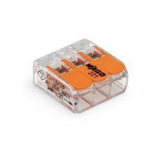 Клемма 3 проводная 221 413 с рабочими рычагами, сечение 0,14/0,2 4 мм², прозрачная, WAGO