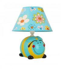 Светильник настольный KD 552 C65, 40W, E14, Шмель голубой желтый, керамика, Camelion