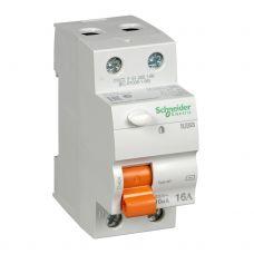 Выключатель дифференциальный (УЗО), ВД63 Домовой, 2P, 16 А, 10 mA, 11454, Schneider Electric