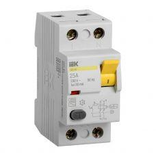 Выключатель дифференциальный (УЗО), ВД1 63, 2п, 25 A, 30 mA, MDV10 2 025 030, IEK