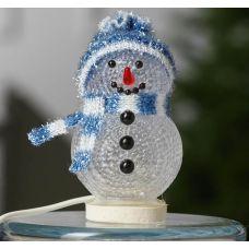 Фигура Снеговичок в синем из акрила, размеры 10х6 см, USB, 1 LED, 186601