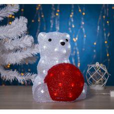 Фигура Медведь сидячий с шариком из акрила, размеры 25х22х30 см, контроллер с диммером, 40 LED, 220V, 2310853