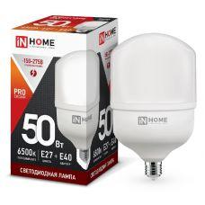 Лампа светодиодная LED HP PRO 50Вт E27 с адаптером E40 6500К 4500Лм 4690612031125 IN HOME