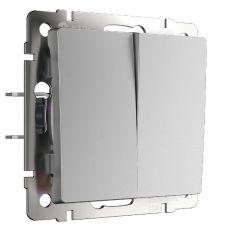 Выключатель двухклавишный (серебряный), артикул WL06 SW 2G, Werkel