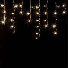 Гирлянда Бахрома, размеры 3x0,5 м, прозрачная нить, 100LED, теплого белого свечения, 220В