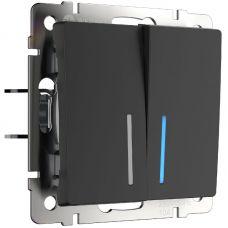 Выключатель двухклавишный с подсветкой (черный матовый), артикул WL08 SW 2G LED, Werkel